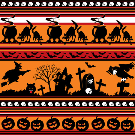 seamless background with halloween jrnament Vector