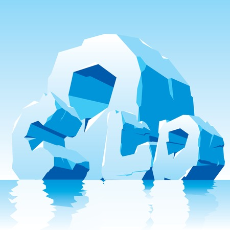 Vector illustration of Frozen word cold