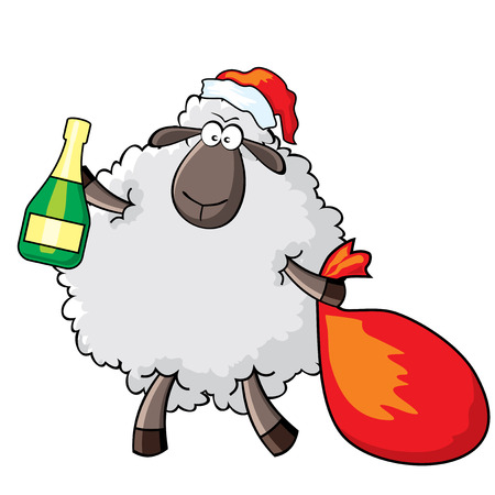 Vector cartoon. Sheep in the role of Santa Claus Vector