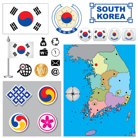 republic of korea: Vector map of South Korea  with a set of signs and symbols Illustration