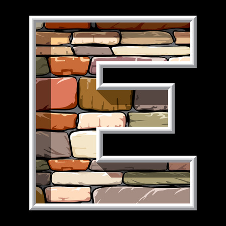 vector image of stone letter E Vector