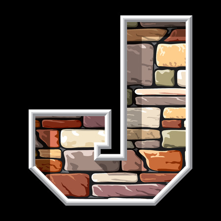vector image of the letter J on stone wall background Vector