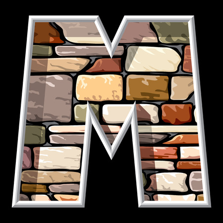 vector image of the letter M on stone wall background Vector