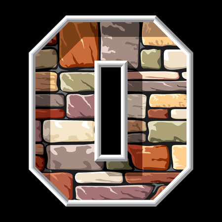 vector image of the letter O on stone wall background Vector