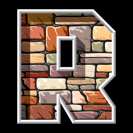 r: vector image of the letter R on stone wall background Illustration