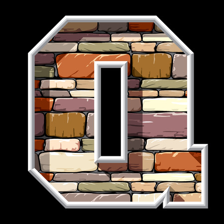 vector image of the letter Q on stone wall background Vector