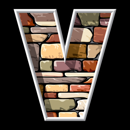 v shape: vector image of the letter V on stone wall background Illustration