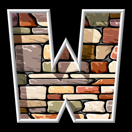 letter w: vector image of the letter W on stone wall background