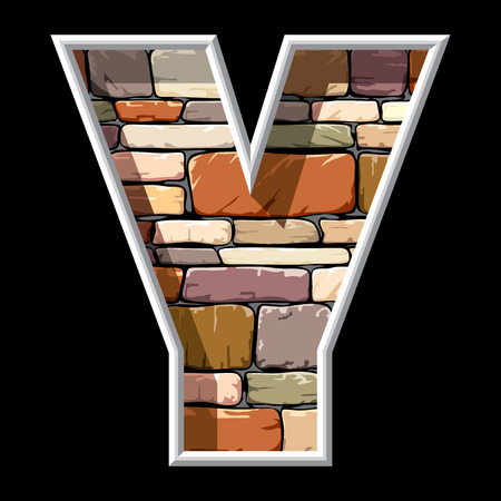 alphabetical letters: vector image of the letter Y on stone wall background Illustration