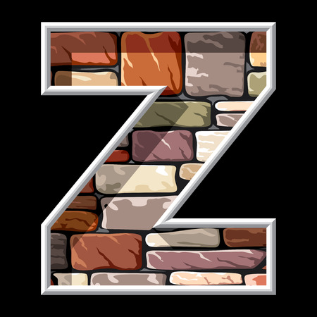 letter z: vector image of the letter Z on stone wall background Illustration