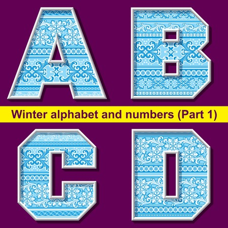vector image of winter letter with a frosty ornament. Part 1