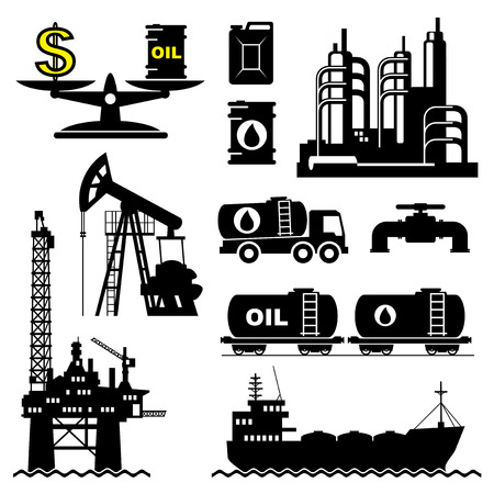 lubrication: set vector icons of petroleum and oil industry Illustration