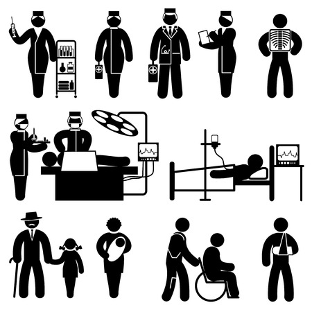 operations: set black and white vector icons of healthcare and medicine