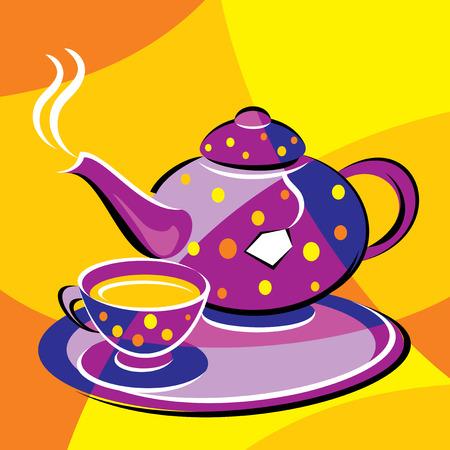 helle Vektor Bild Tee. stilisierten Glasmalerei