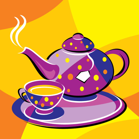 bright vector image of tea. stylized stained glass