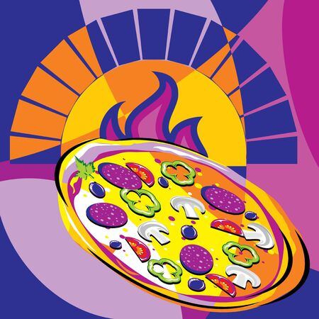 bright vector image of pizza out of the oven. stylized stained glass