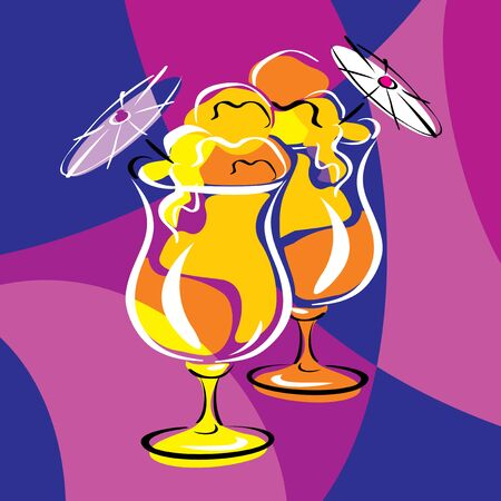 bright vector image of cocktails. stylized stained glass