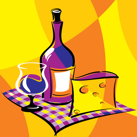 bright vector image of wine. stylized stained glass