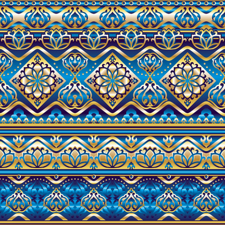 blue silk: vector seamless pattern with gold and blue silk Turkish ornament