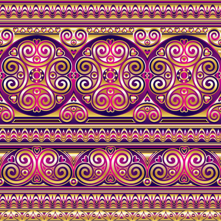 vector seamless pattern with gold silk ornament in Asian style