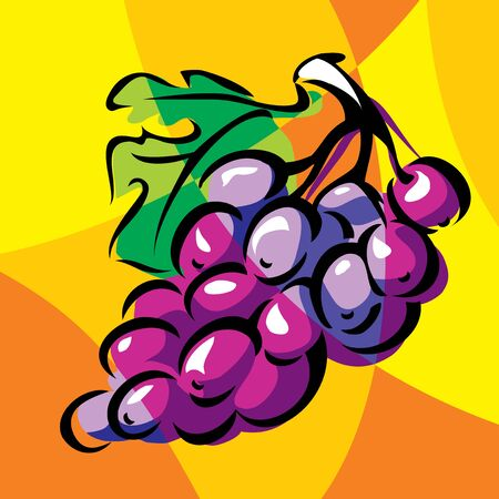 bright vector image of grapes