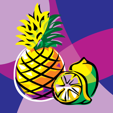 varicolored: bright vector image of pineapple and lime