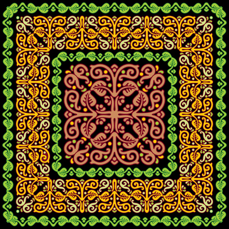 vector ornament with floral pattern Slavic