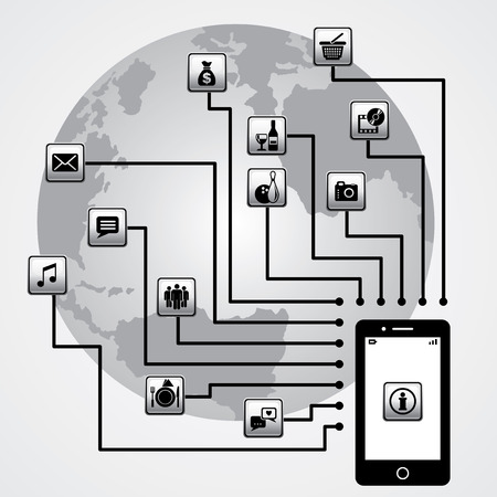 vector image of  smartphone and world communication Ilustrace