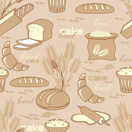 vector obsolete seamless pattern with image of breads, pastries and cakes Ilustrace