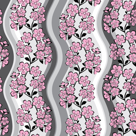 vector seamless pattern with Japanese sakura ornament