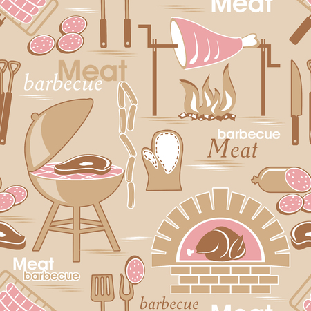obsolete: vector obsolete seamless pattern with image of meat and barbeque