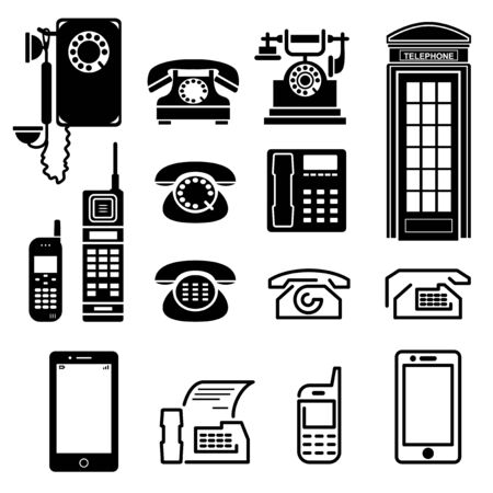 wireless telephone: set vector images icons with ancient and modern telephone