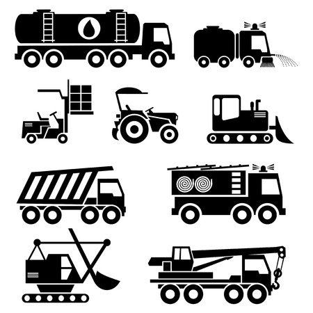 heavy machinery: set vector icons of special vehicles and transport