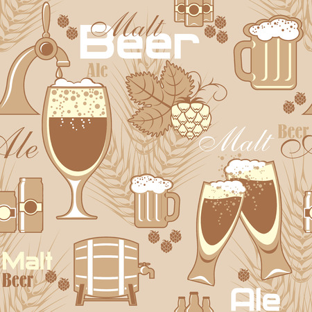vector obsolete seamless pattern with image of beer