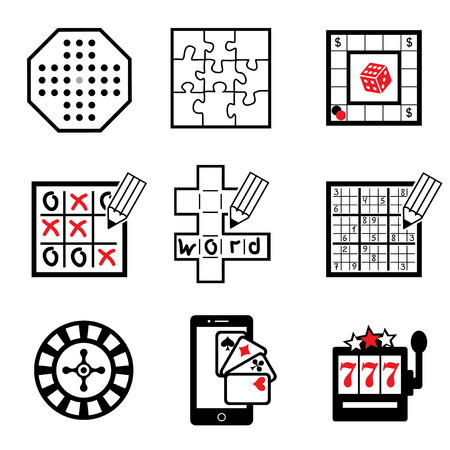 word game: set vector icons of board,  casino and ligic  games