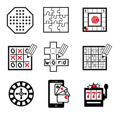 sudoku: set vector icons of board,  casino and ligic  games