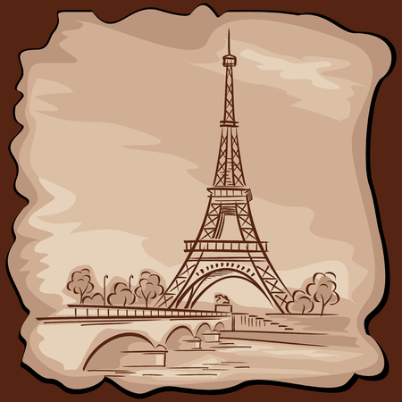 vector images: vector images of Paris Eiffel tower in vintage style Illustration