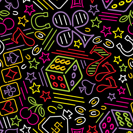 vector seamless pattern with casino icons in neon style
