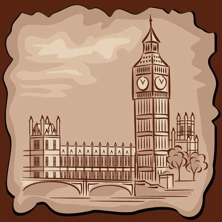 vector images of London Big Ben in vintage style