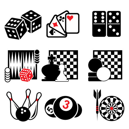 set vector icons of active, casino and puzzle games Ilustrace