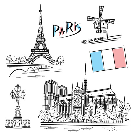 european culture: vector images of Paris landmarks