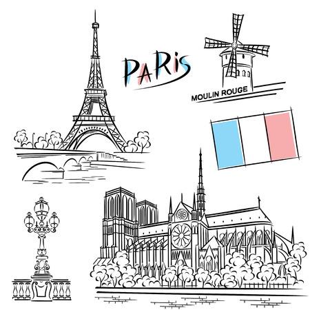 Vektor-Bilder von Paris Sehenswürdigkeiten Standard-Bild - 42922089