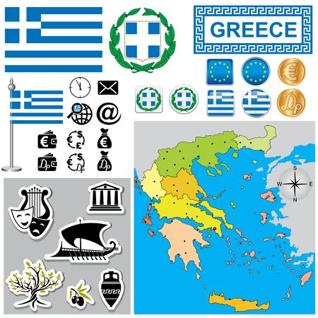 Vector map of Greece  with a set of signs and symbols