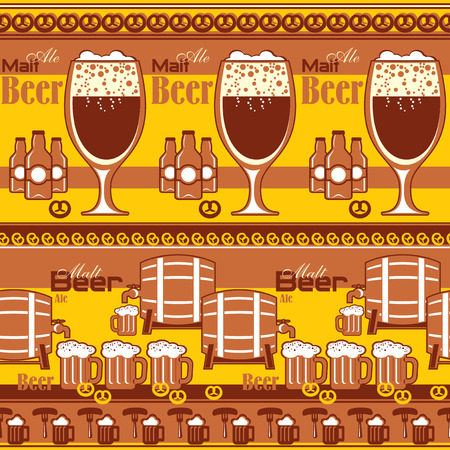 vector seamless pattern with image of beer and snack Ilustrace