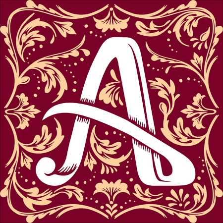initial cap: letter A vector image in the old vintage style