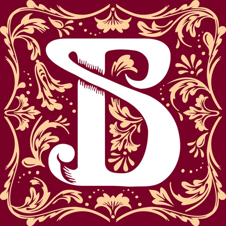 initial cap: letter B vector image in the old vintage style