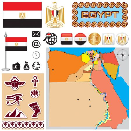 Vector map of Egypt with a set of signs and symbols