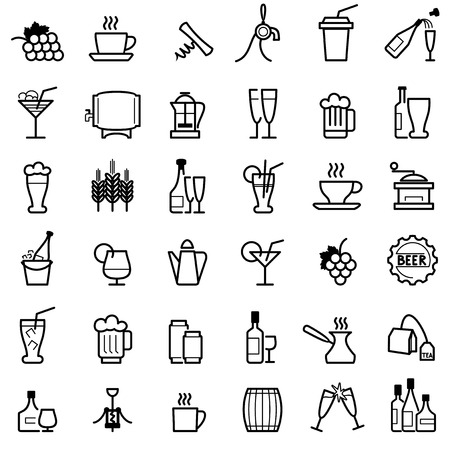 barrels: set vector icons of drinks and beverages