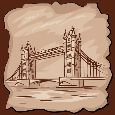 vector images of London Tower bridge in vintage style