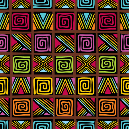 ethiopia abstract: vector seamless pattern with african ornament Illustration